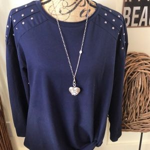 Rock&Republic navy blue gathered front top